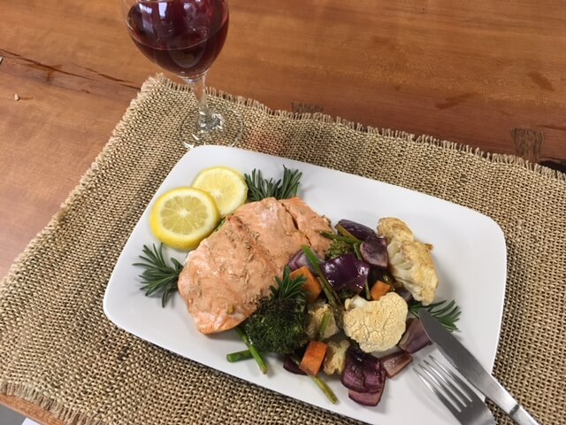 Easy One Pan Meal: Salmon, Asparagus & Sweet Potatoes (VIDEO)
