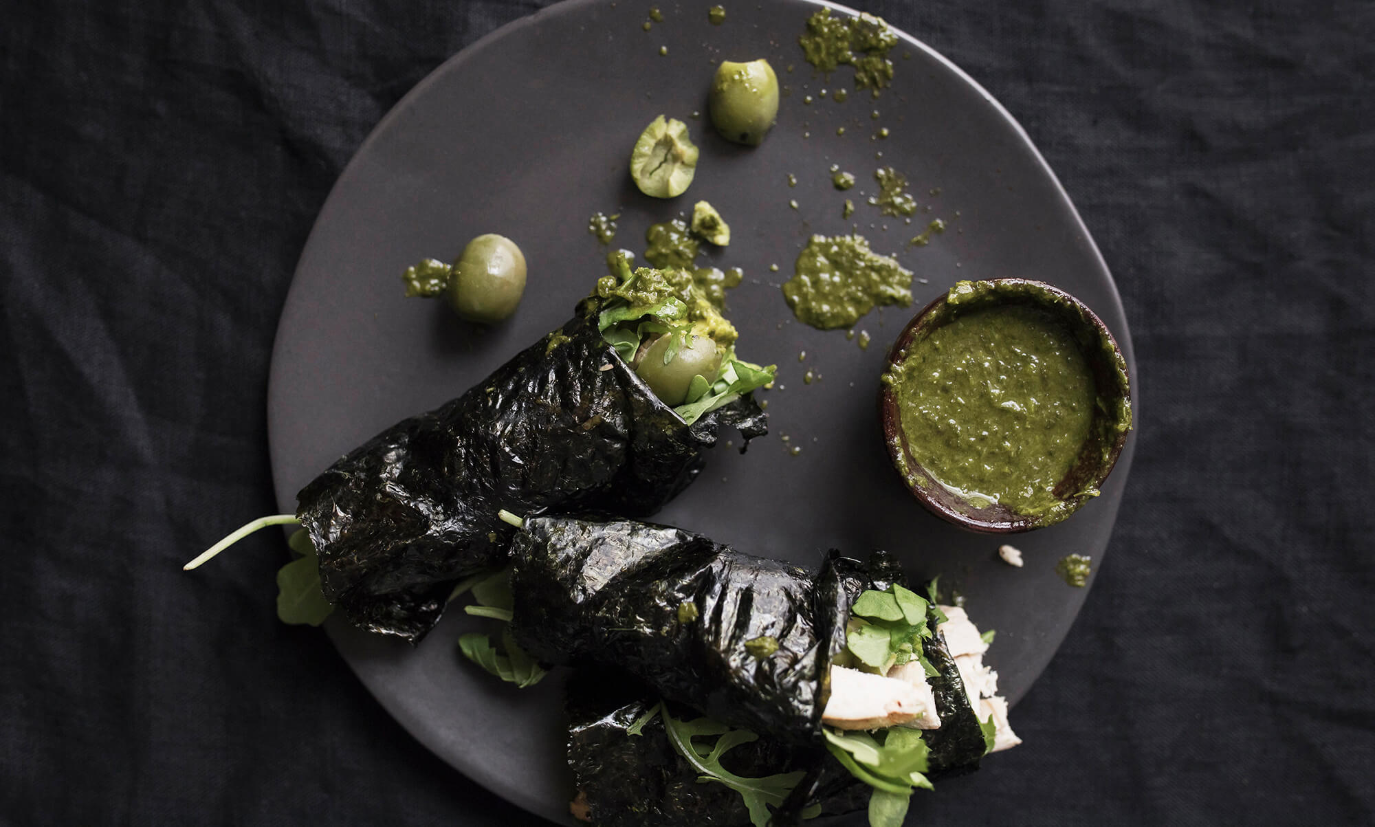 Delicious Avocado Seaweed Wraps with Cilantro Dipping Sauce