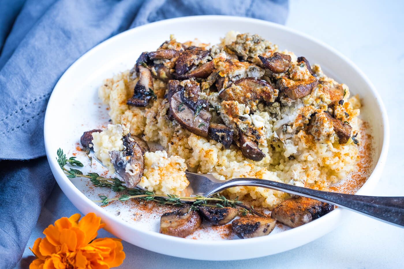 "Toasted Millet ""Grits"" with Spicy Eggs & Mushrooms"
